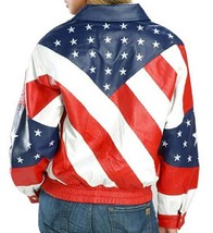 Womens Biker Style American Flag Bomber Motorcycle Leather Jacket image 2