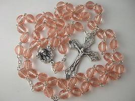 Catholic Rosary 7x8mm large Rose Pink Glass Beads Nice Crucifix & Center... - $26.18