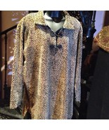Dana Bachman Leopard Velour  Vintage Style Neru Sweater - $42.08
