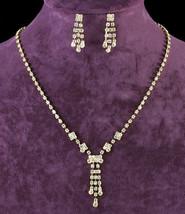 Wedding Gold Crystal Rhinestone Necklace Earrings Set - $29.99