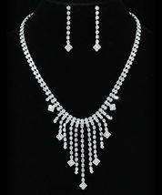 Wedding Clear Crystal Rhinestone Necklace Earrings Set  - $29.99