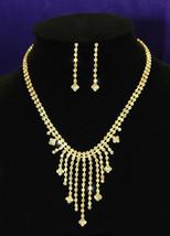 Wedding Gold Crystal Rhinestone Necklace Earrings Set  - $25.99
