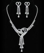 Wedding Heart Crystal Rhinestone Necklace Earrings Set  - $25.99