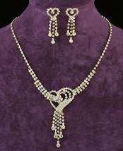 Wedding Heart Gold Crystal Rhinestone Necklace Earrings Set  - $29.99