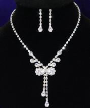 Wedding Bow Crystal Rhinestone Necklace Earrings Set  - $29.99