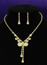 Wedding Bow Gold Crystal Rhinestone Necklace Earrings Set  - $29.99