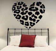 ( 35'' x 30'') Vinyl Wall Decal Leopard Skin Heart Shape / Animal Skin Print Art - $36.05
