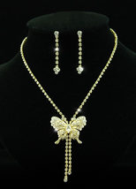 Wedding Butterfly Crystal Gold Plate Necklace Earrings Set  - $29.99