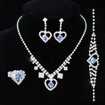 Wedding Blue Crystal Heart Necklace Bracelet Ring Earrings Set  - $32.99
