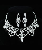 Wedding Bridal Party Queen Pageant Crystal Necklace Earrings Set  - $30.99