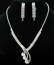 Bridal Crystal Rhinestone Necklace Earrings Set  - $25.99