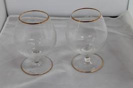 2 STUNING  GLASS BRANDY SNIFTER GLASSES GOLD TRIM VINTAGE - $15.00