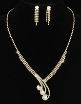 Wedding Bridal Crystal Gold Plated Necklace Earrings Set - $29.99