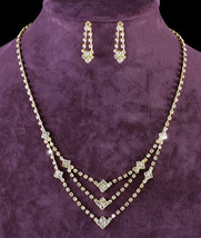 Wedding Clear Crystal Gold Plated Necklace Earrings Set  - $29.99