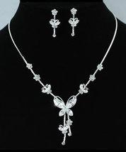 Wedding Bridal Butterfly Rhinestone Necklace Earrings Set - $26.99