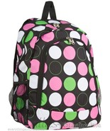 Personalized Backpack Book Bag Black Lime Pink Polka Dots Initial(s)or N... - $39.99