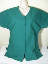 Personalized Scrub Snap Top Hunter Green Cotton Sz Xs 4 X Embroidered W/Your Text - $15.99+