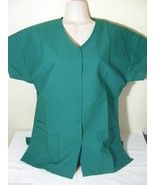 PERSONALIZED SCRUB SNAP TOP HUNTER GREEN COTTON Sz XS-4X Embroidered w/y... - $15.99+