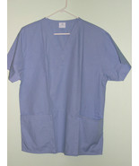CEIL BLUE SCRUB V NECK TOP 2POCKET PERSONALIZED UNISEX SIZE 3X or 4X cot... - $19.99