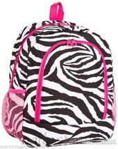 Personalized Backpack Book Bag Zebra Black White Pink Initial(s) or Name... - $39.99