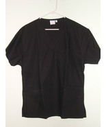 BLACK SCRUB V Neck Pullover Top 3 Pocket PERSONALIZED SIZE LG XL 2X 3X 4... - $17.99+