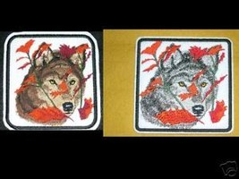 "WOLF BIKER VEST PATCH 4""x5"" WOLVES Leaves Brown + Silver - $6.99"