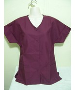 PERSONALIZED SCRUB SNAP TOP WINE BURGANDY COTTON SZ 5X Embroidered Up to... - $17.99
