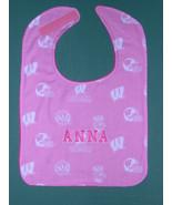 University of WISCONSIN PINK PERSONALIZED Infant Name BABY BIB GIRL Larg... - $14.99