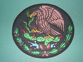 MEXICO COAT OF ARMS CREST FLAG MEXICAN BIKER SEW-ON BACK PATCH LARGE 8in... - $36.99