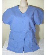 PERSONALIZED SCRUB SNAP TOP CEIL BLUE POLY/COTTON Sz XS-5X Embroidered y... - $11.99+