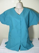 Personalized Scrub Snap Top Teal Poly/Cotton Sz Xs 5 X Embroidered W/Your Text - $12.99+