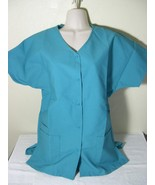PERSONALIZED SCRUB SNAP TOP TEAL POLY/COTTON Sz XS-5X Embroidered w/Your... - $12.99+