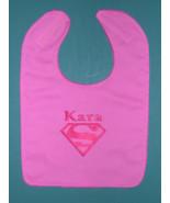 PERSONALIZED BIBS BABY BIB SUPERMAN SUPERGIRL LG Heavy BLUE or PINK COTT... - $15.99