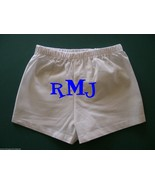 Personalized White Boy Boxer Shorts Diaper Cover FrontBack Name Initials... - $13.99