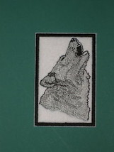 "WOLF HOWLING BIKER VEST PATCH WOLVES Choose Brown or Silver 4""x 2.5"" Sew... - $8.99"