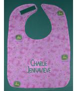 PINK PAISLEY JOHN DEERE PERSONALIZED +NAME BABY BIB BIBS GIRL LARGE COTT... - $15.99
