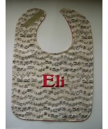 MUSIC MUSICAL NOTES Sheet Music BIBS BABY BIB PERSONALIZED Baby's Name T... - $15.99