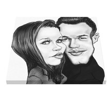 Pencil custom personalized couple caricature from photo Valentines Day Gift - $59.00