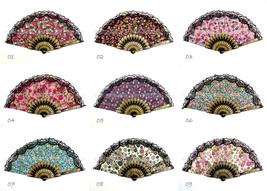 12 PCs Spanish Flower Print Foldable Lace Trim Hand Fan Decoration Cloth... - $19.39