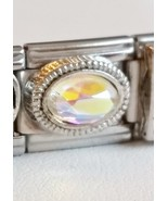 Irridescent Oval Aurora Borealis Stone Italian Charm fits all 9mm Bracel... - $5.99