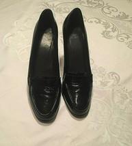 Stuart Weitzman Black Patent Leather Loafer Pumps Mocup Moccasin Heels 9.5 M - $46.39