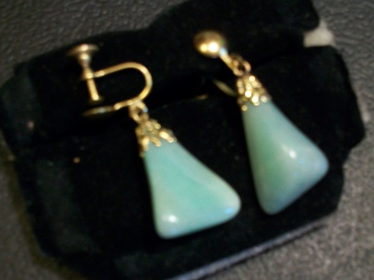 Vintage Jade Colored Polished Stone Earrings - Screw-back