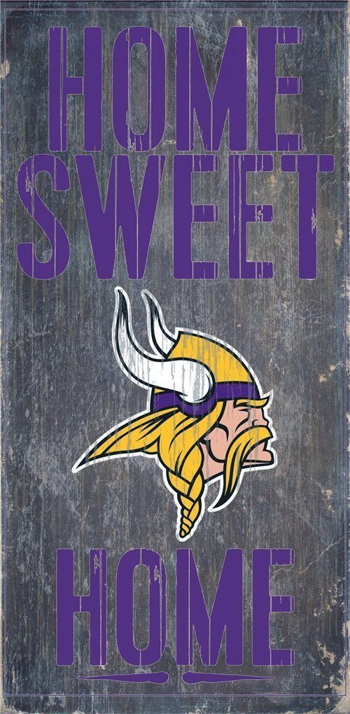 "MINNESOTA VIKINGS HOME SWEET HOME WOOD SIGN and ROPE 12"" X 6""  NFL MAN CAVE!"