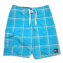 Quicksilver Board Shorts Size 27 Waist Aqua Blue Cargo Pocket Cinch Wais... - $17.83