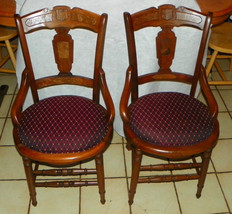 Pair of Solid Walnut Hip Hugger Dinette Chairs / Sidechairs - $499.00