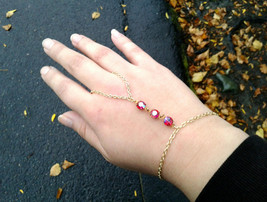 Boho Slave Bracelet Red Gem Hand Chain Rare Antique Gem Hand Chain Red G... - $66.00