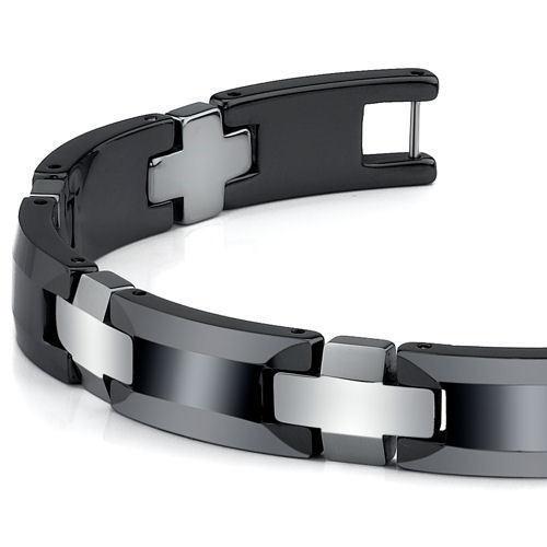 Men's Sophisticated Tungsten Carbide and Ceramic Link Bracelet image 3