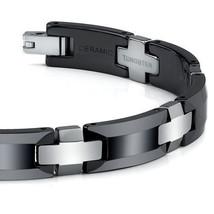 Men's Sophisticated Tungsten Carbide and Ceramic Link Bracelet image 2