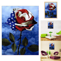 American Flag Design Rose 5D Art Diamond Painting Cross Stitch Craft Dec... - $26.99