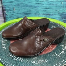 Clarks 6 M Brown Leather Bendables May 67053 Slip On Mules Clogs Comfort... - $34.64